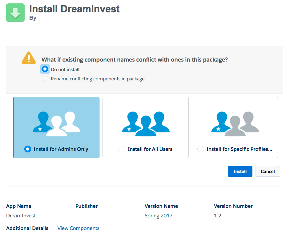 Install DreamInvest dialog