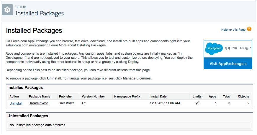 Installed Packages dialog