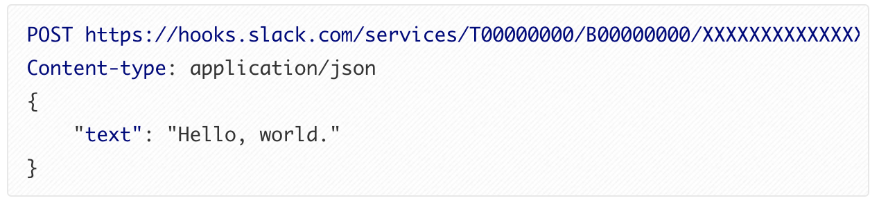 """Webhooks code directing a Slack App to post """"Hello, world"""" to a specific URL in JSON."""
