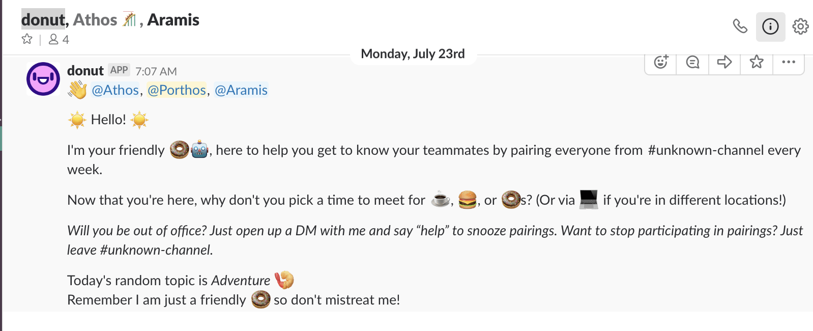 Donut gathering three people into a group message and encouraging them to meet.