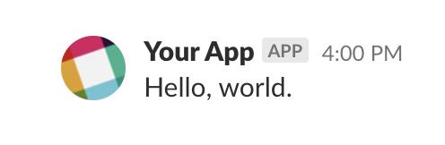 "Your App posts ""Hello, world."""