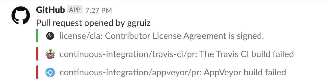 GitHub post on Slack that ggruiz opened a pull request with relevant data.