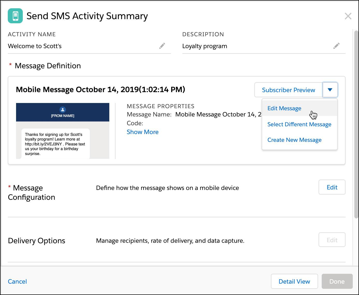 SMS Activity summary with Edit Message selected in the dropdown.
