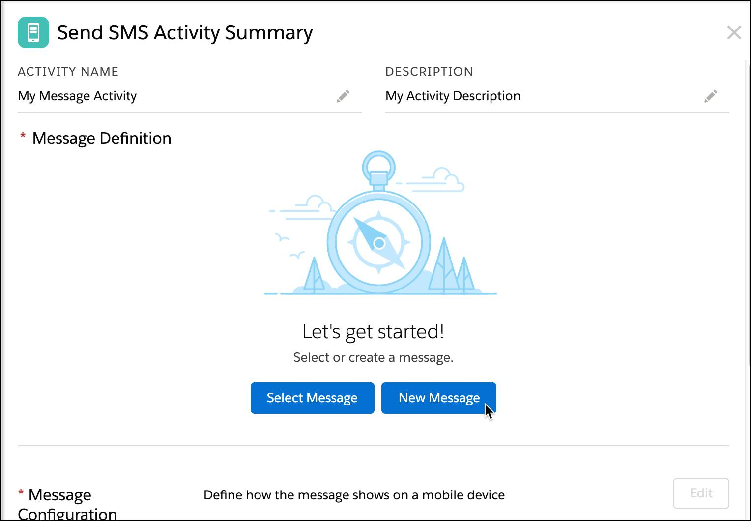 Send SMS Activity summary with new message selected.