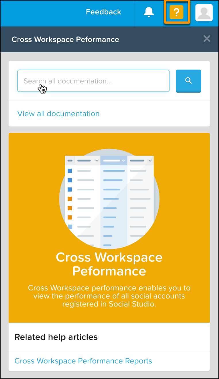 L'interface Assistant de page avec son icône mis en évidence et le tiroir Espaces de travail affichant tous les articles d'aide associés pour la partie de l'application dans laquelle vous vous trouvez.