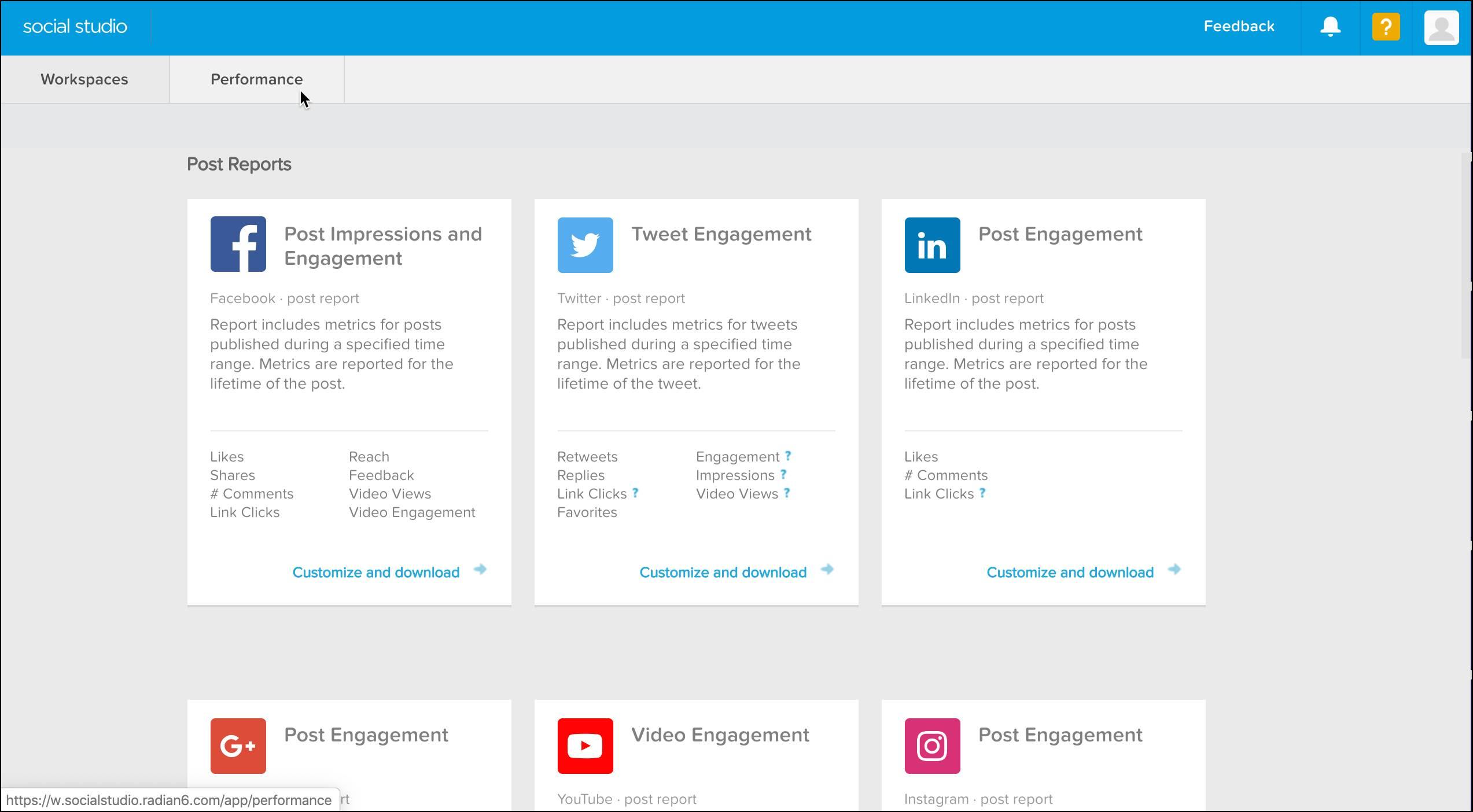 L'interface de l'onglet Performance affiche une collection de rapports relatifs à vos publications sur différents réseaux sociaux, notamment Facebook, Twitter, YouTube, etc.