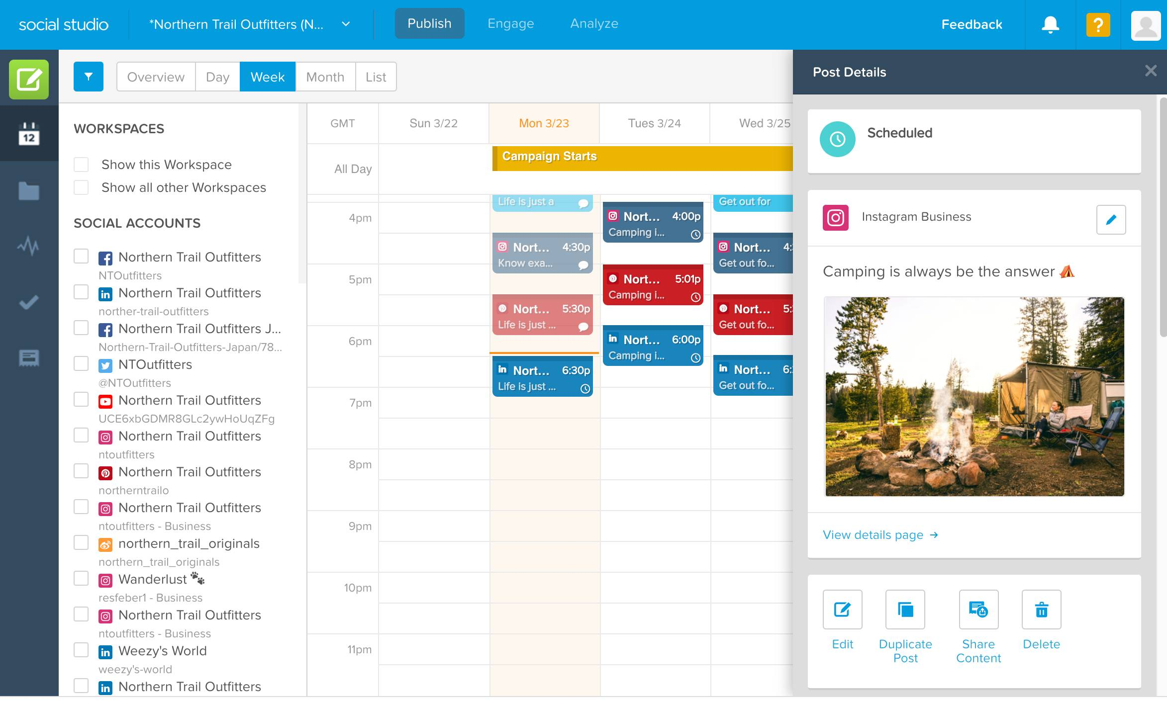 L'interface Publier de SocialStudio avec une publication de NorthernTrailsOutfitters au sujet du camping