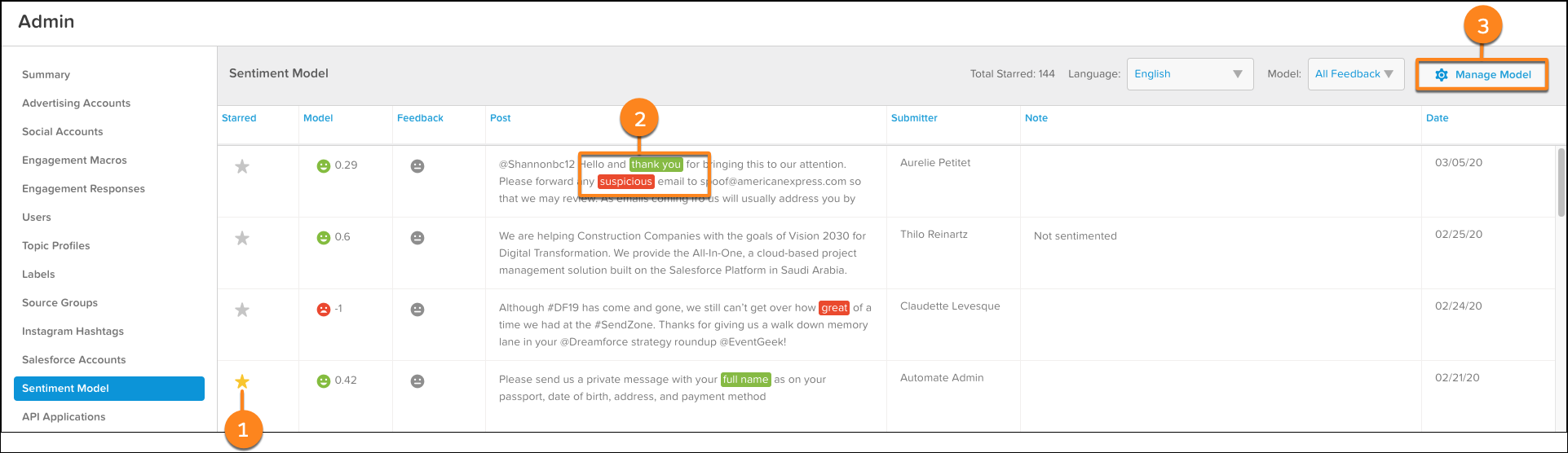 Sentiment model admin screen with callouts for starred, highlighted words, and the manage model button.