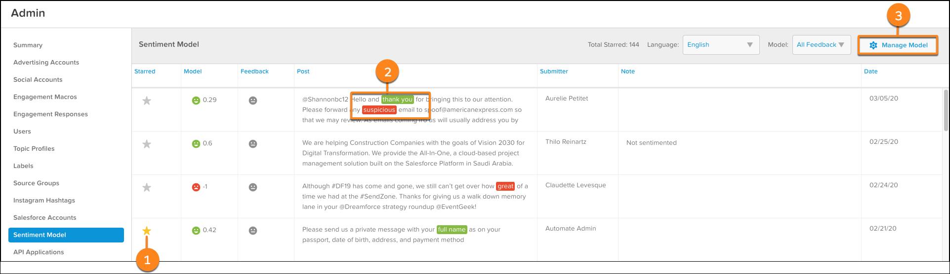 スター付き、強調表示された語句、[モデルを管理] ボタンにコールアウトが付いているセンチメントモデルの管理画面。