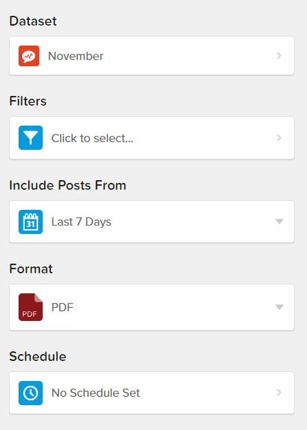 The report interface that includes filters for defining your report