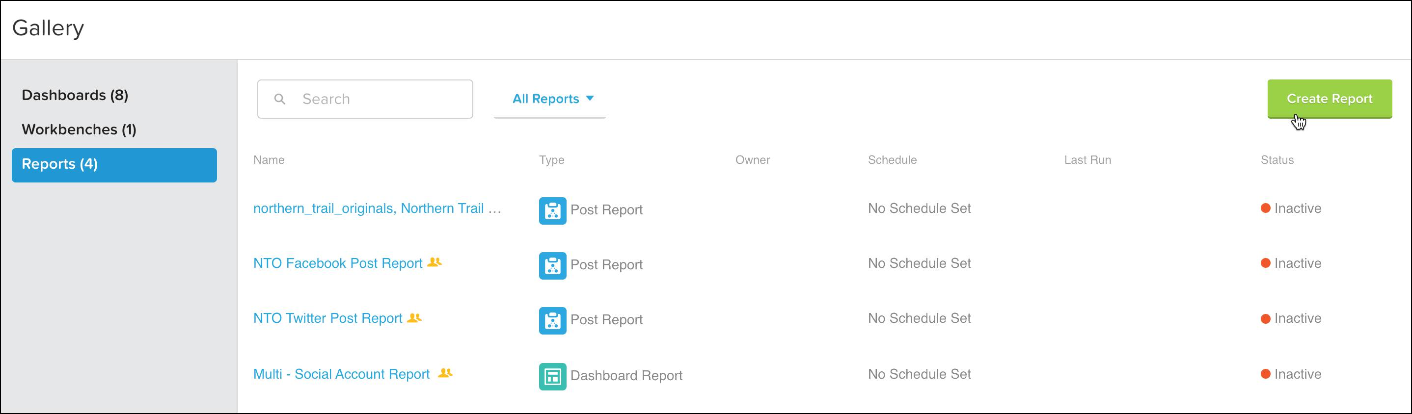 The Social Studio Analyze interface for creating a report with a mouse cursor on the Create Report button.