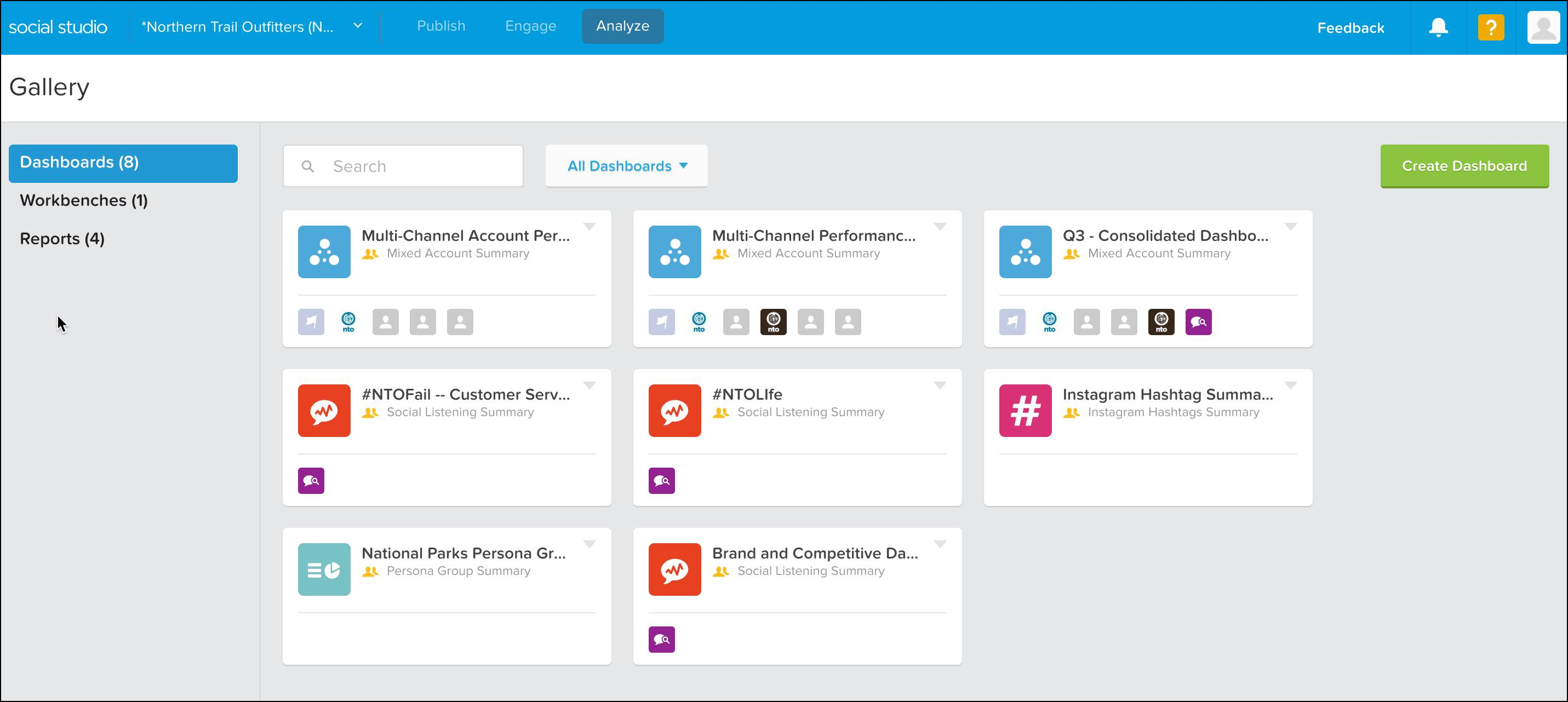 A list of all dashboards in a Social Studio account.