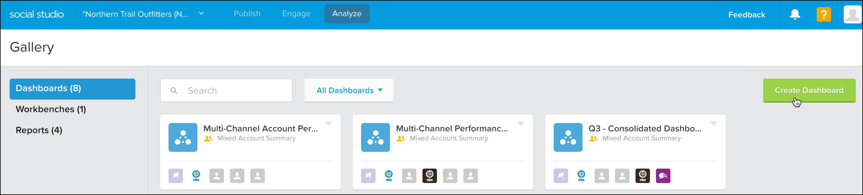 Social Studio Analyze interface with the mouse cursor on Create Dashboard button.