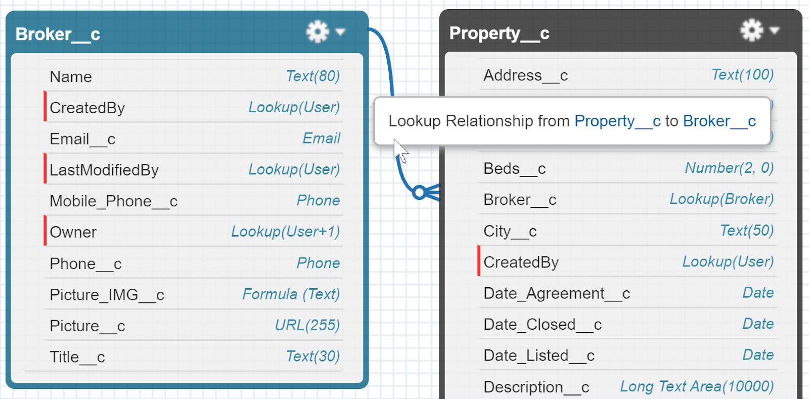 The Broker__c and Property__c custom objects in the Schema Builder. The Broker__c custom field on the Property__c object has a lookup relationship from the Property__c custom object to the Broker__c custom object.