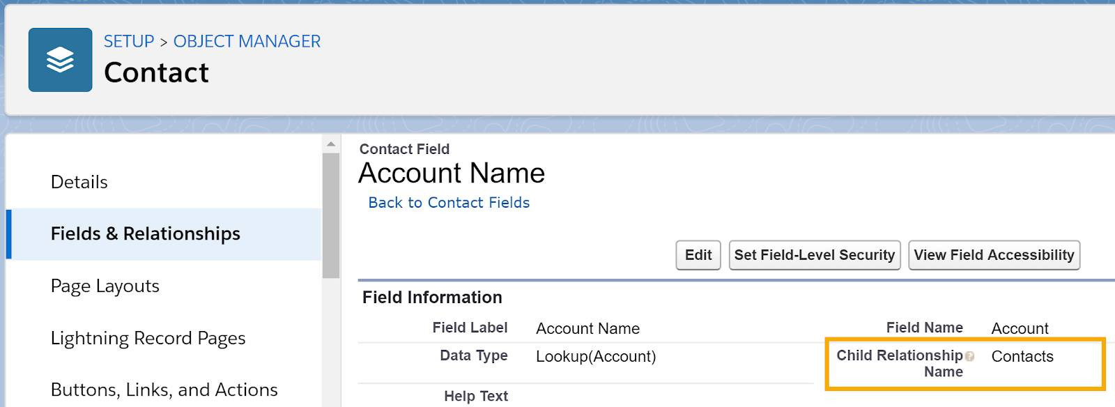 Details for the Account Name field on the Contact object, highlighting the Child Relationship Name, which is Contacts.