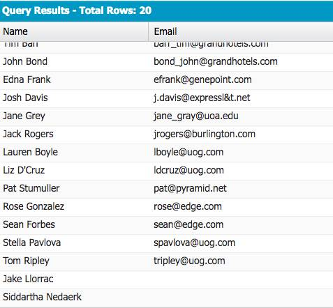 Query Results listing the name and email fields.