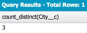 Query Results - Total Rows: 1. Column: count_distinct(City__c) Value 3.