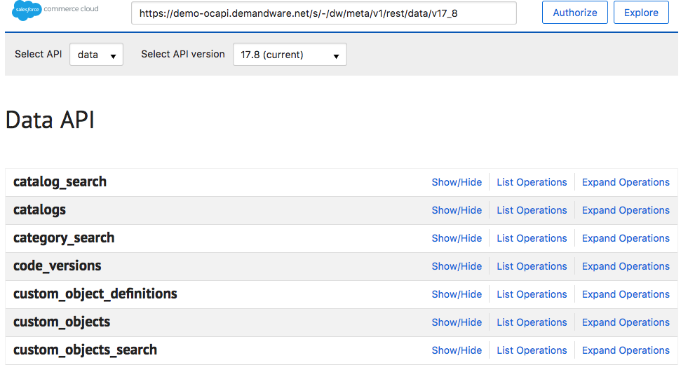 Some of the new APIs, including catalog_search, catalogs, category_search, code_versions, custom_object_definitions, custom_objects, and custom_objects_search