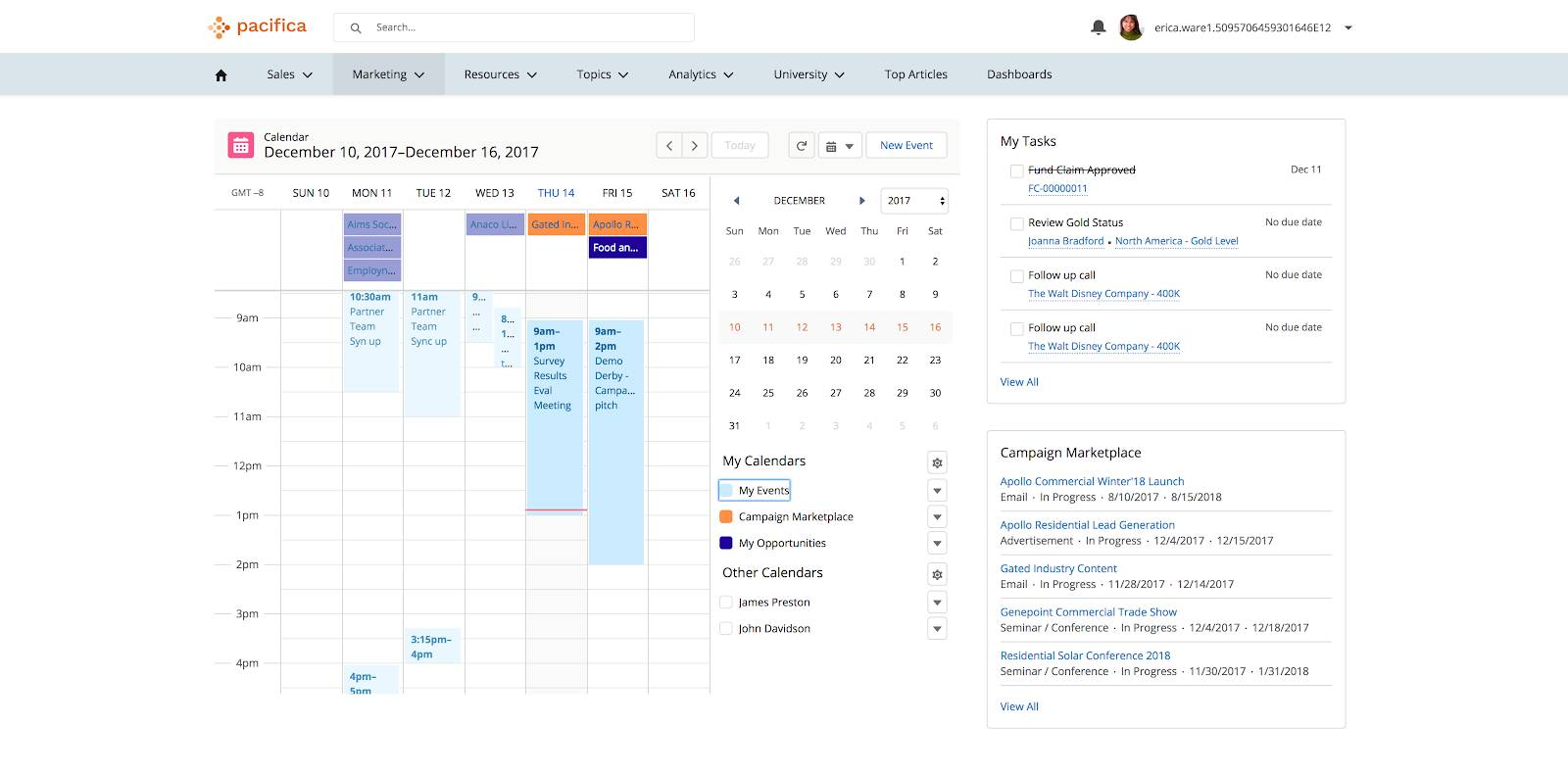 A sample community with the Calendar component showing sample events