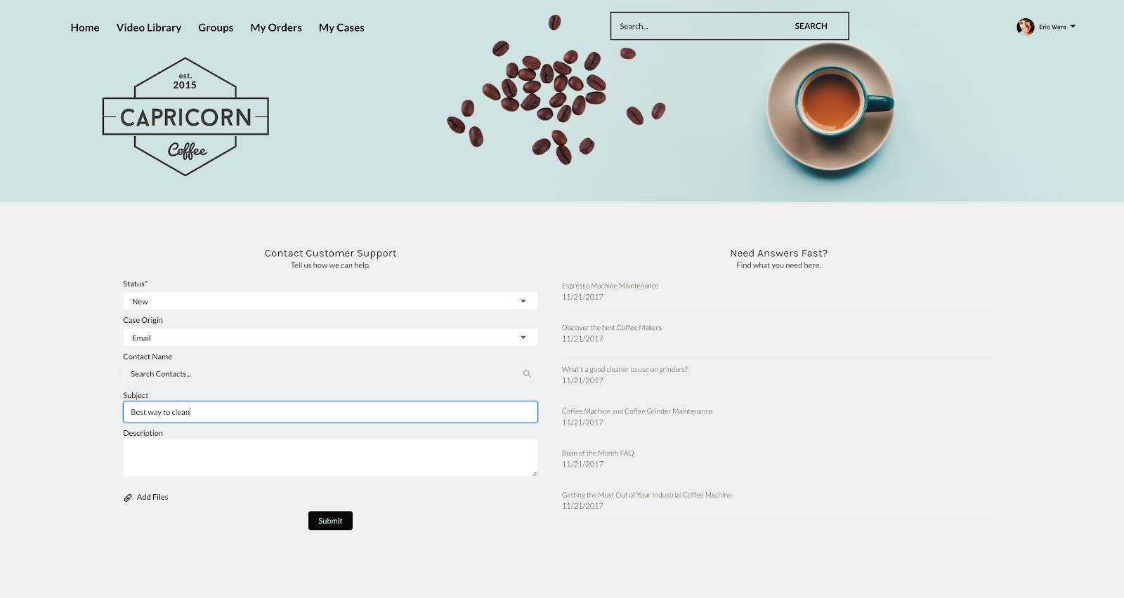 A sample online community for Capricorn Coffee with a web form for submitting cases