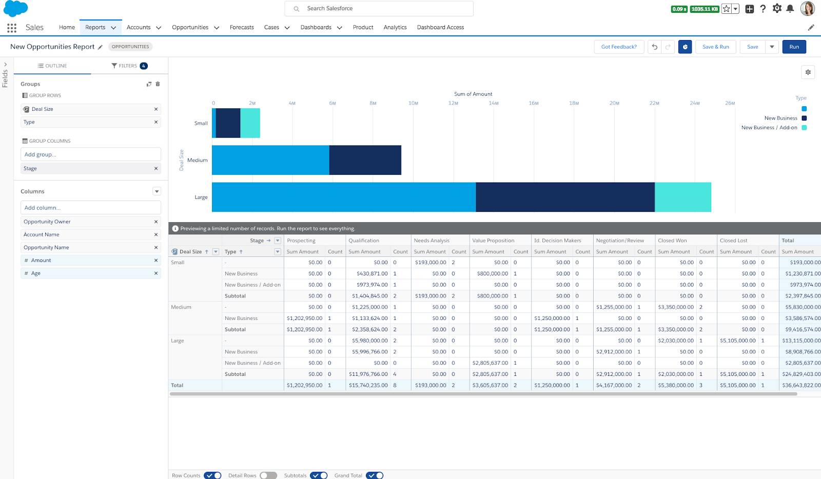 The Reports tab in Salesforce showing the new Lightning Report Builder with an opportunities report including a chart