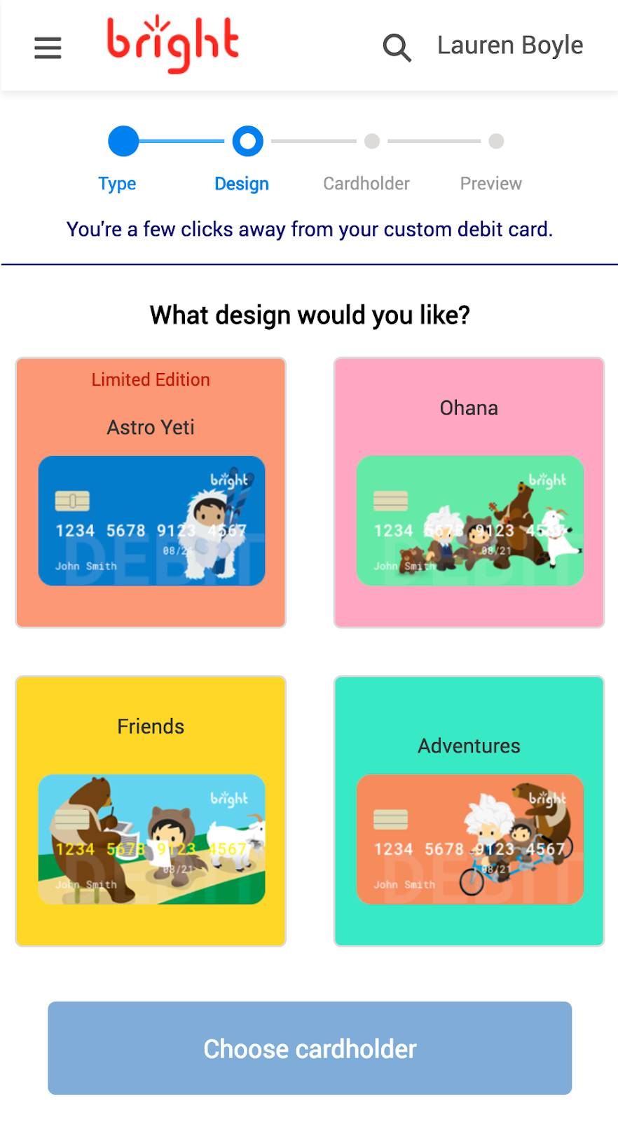 A Lightning Flow where you can choose from various options for a credit card design, showing multiple designs you can select from
