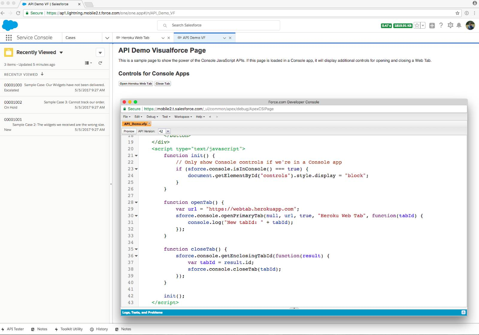 A Visualforce page showing sample code with the console JavaScript API functions