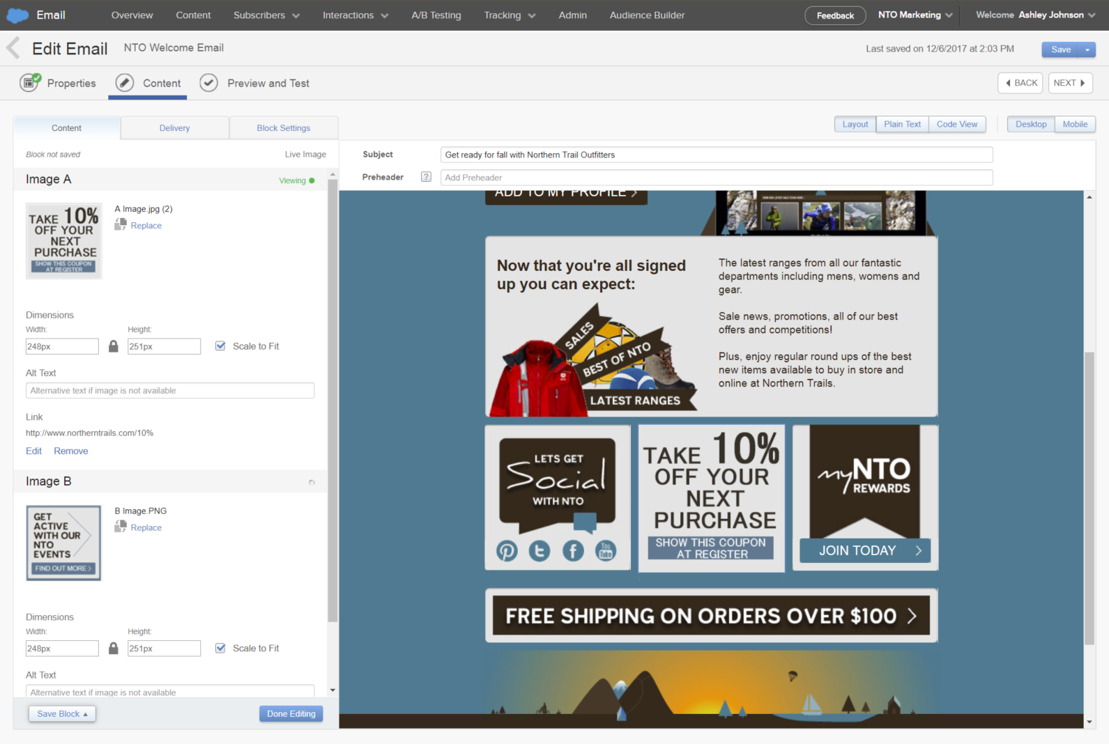 A screen in Email Studio showing how to upload images for an email and preview the email with the images in it