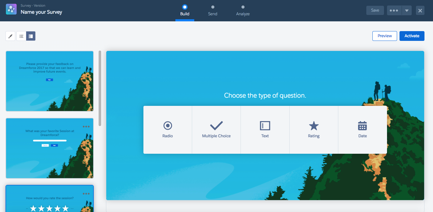A sample survey being created in Salesforce, with options for radio buttons, multiple choice, text, rating, and date fields