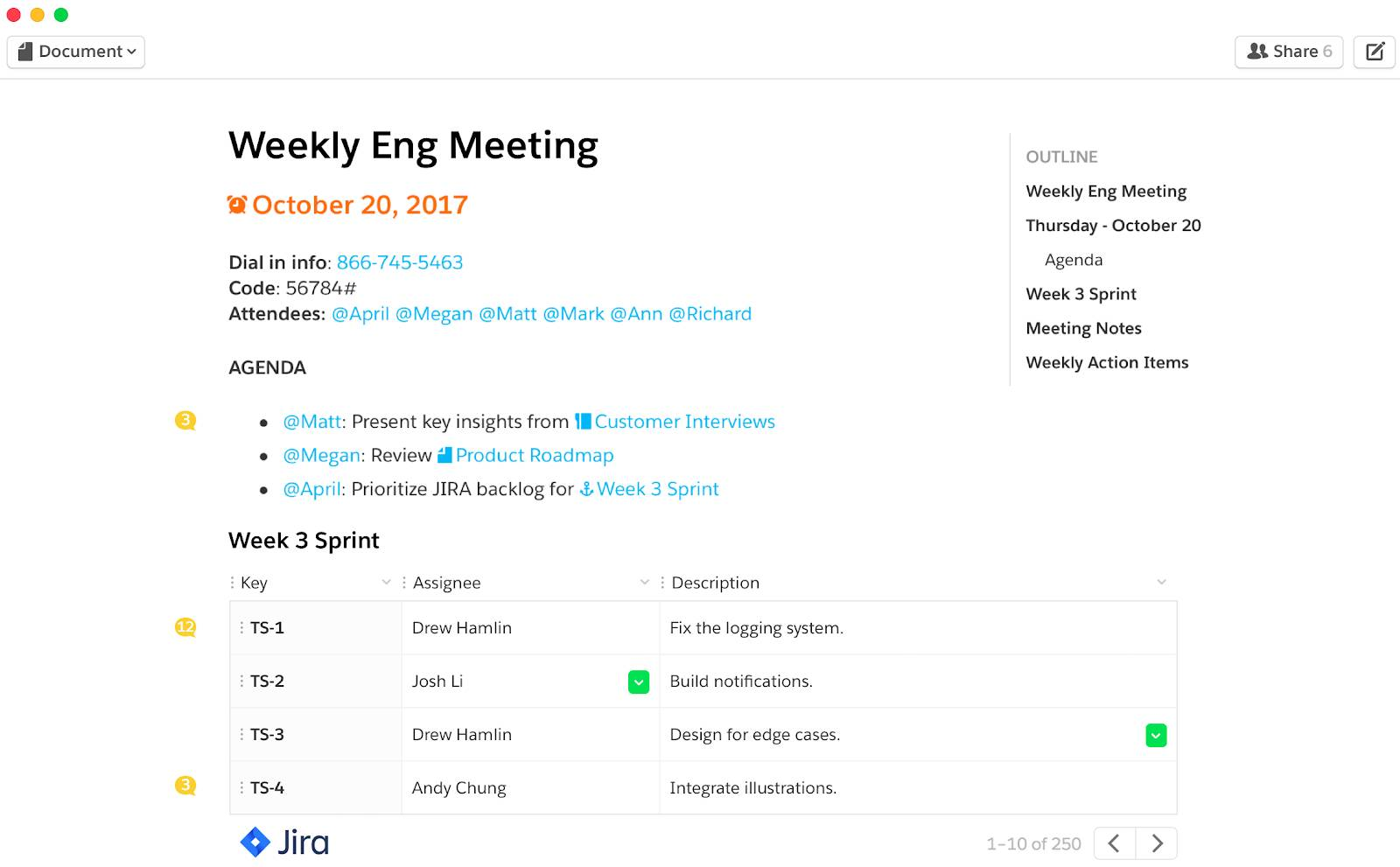 Picture shows Jira Live App allowing team's live Jira data to be added to Quip documents to view, update, and collaborate on development projects in real time