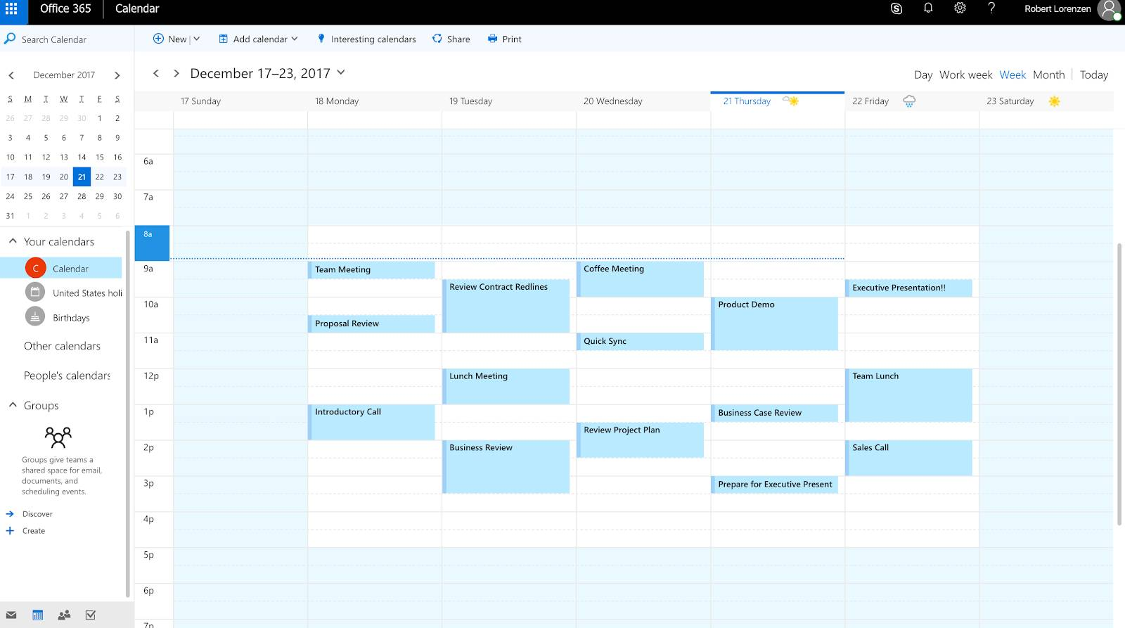 A sample Outlook calendar with events synced from Salesforce displayed