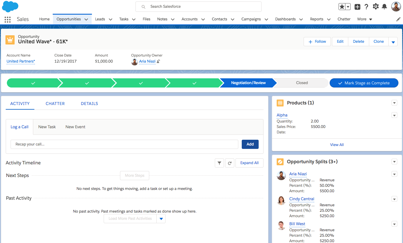 An opportunity record in Salesforce with the Opportunity Splits component shown. There are three salespeople shown on the Opportunity Splits component who are splitting the opportunity revenue.
