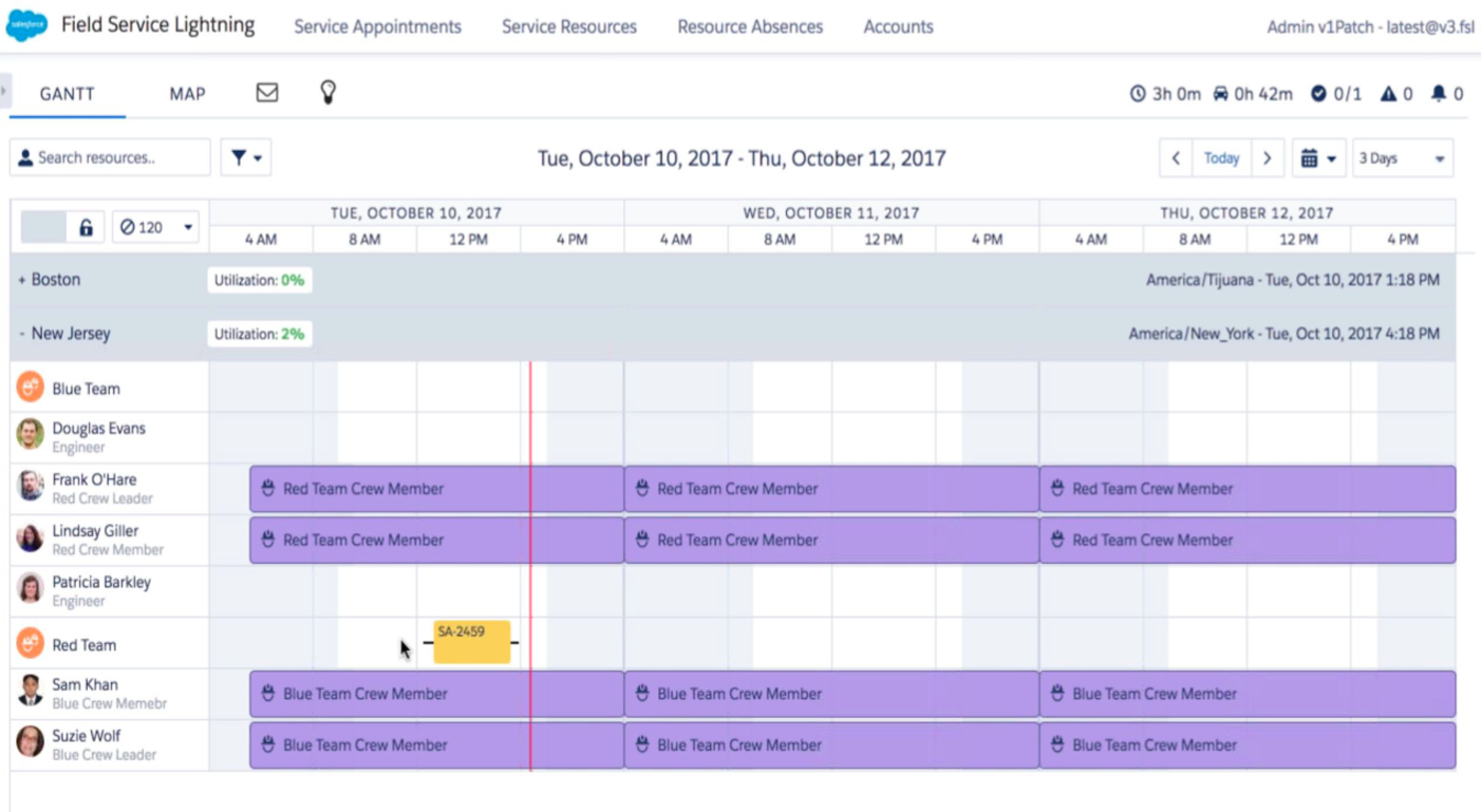 Crew scheduling calendar within Field Service Lightning in Salesforce, showing all of the field agents and their appointments