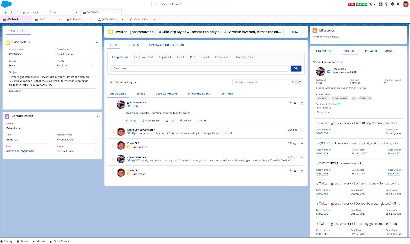 A case in Salesforce that shows a customer's social interactions and social persona.