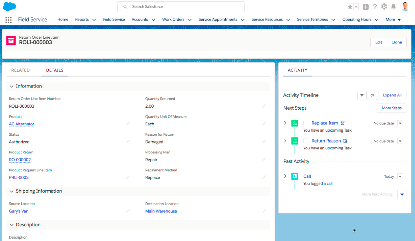 An order record in Salesforce