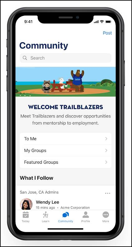 Trailhead on a mobile screen with Community functionality