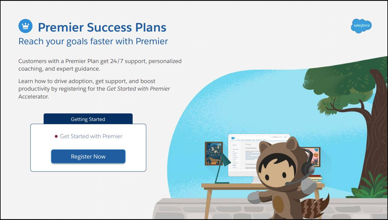 The Get Started screen for Premier Plan