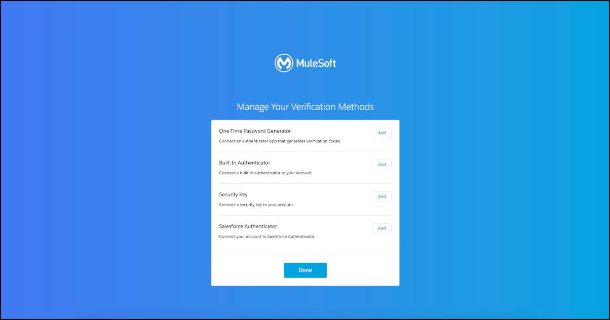 Manage Your Verification Methods screen in MuleSoft