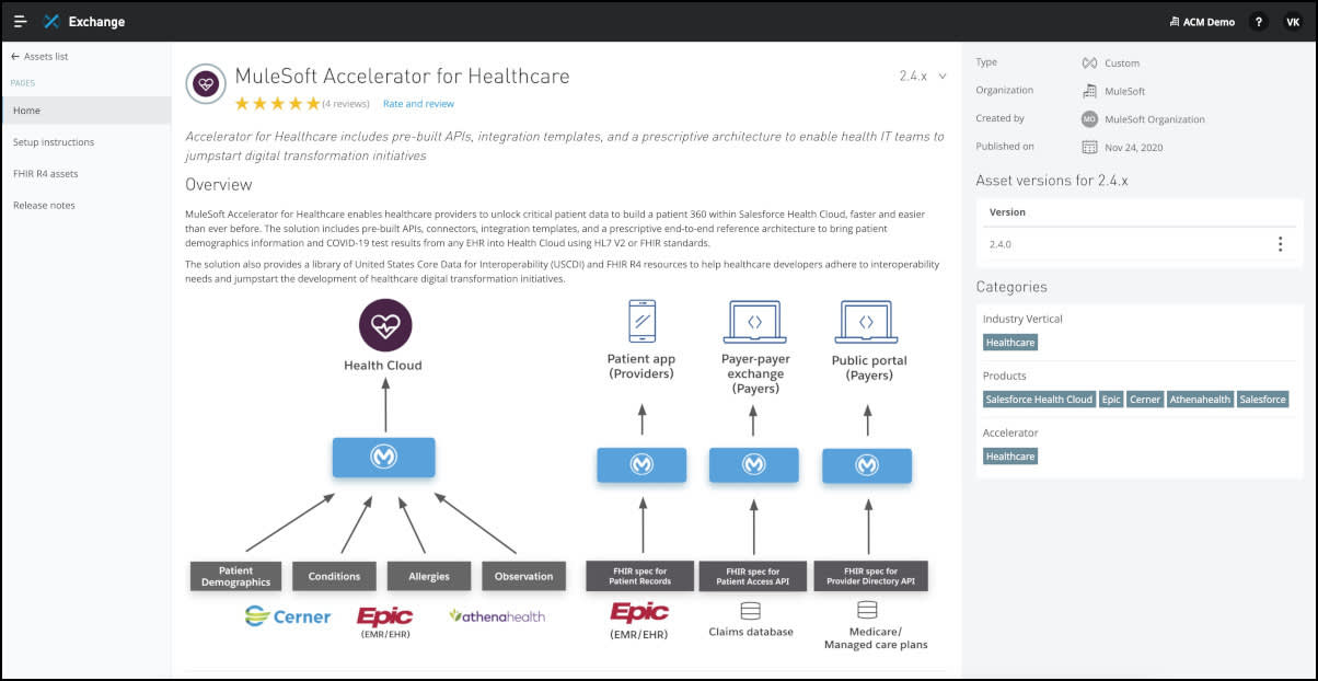 The MuleSoft Accelerator for Healthcare product page on Anypoint Exchange