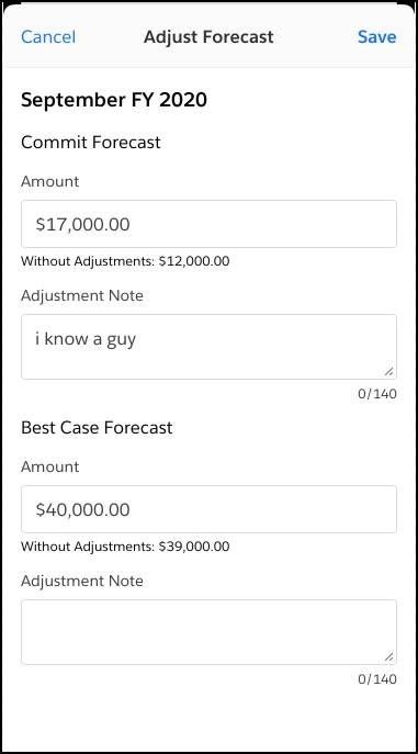 The Forecasts touchscreen in the Salesforce mobile app, with the new Adjust button highlighted