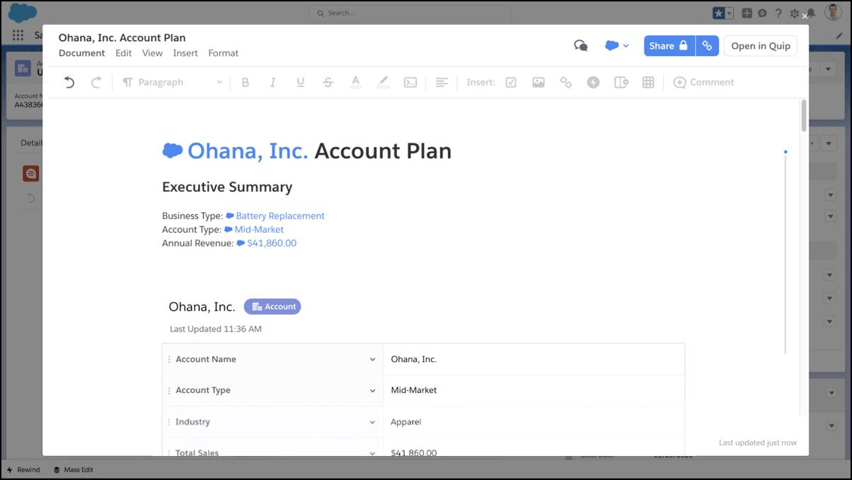 Example document with Live Data Mentions auto-populated