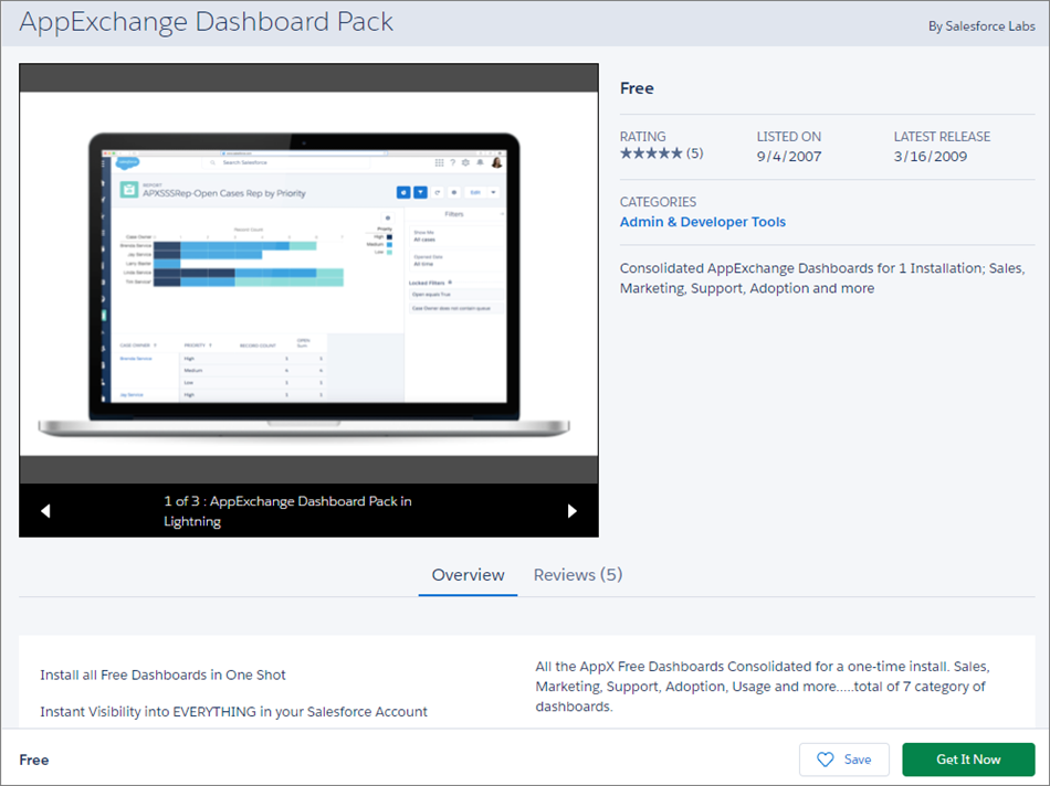 The AppExchange Dashboard Pack's AppeExchange page.