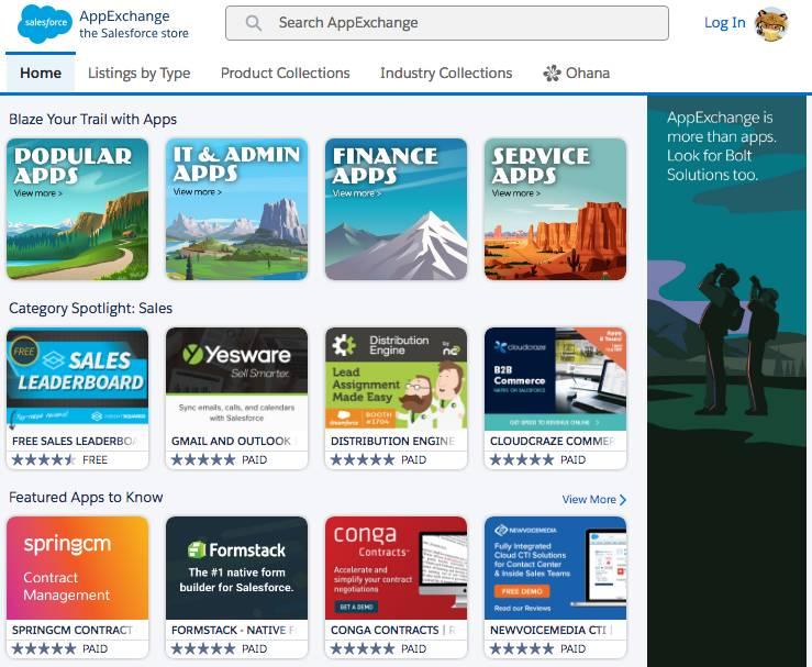 Die Startseite von AppExchange.