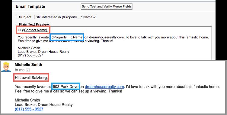 Una plantilla de email en Salesforce que utiliza el nombre de API de un contacto y una propiedad.