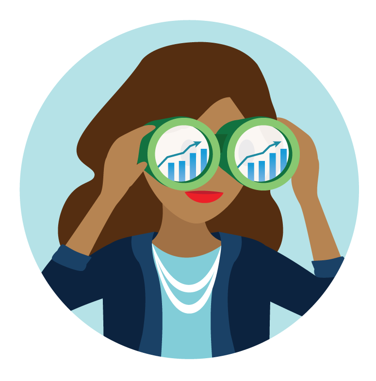 Salesforce candidate looking in binoculars at Sales projections.
