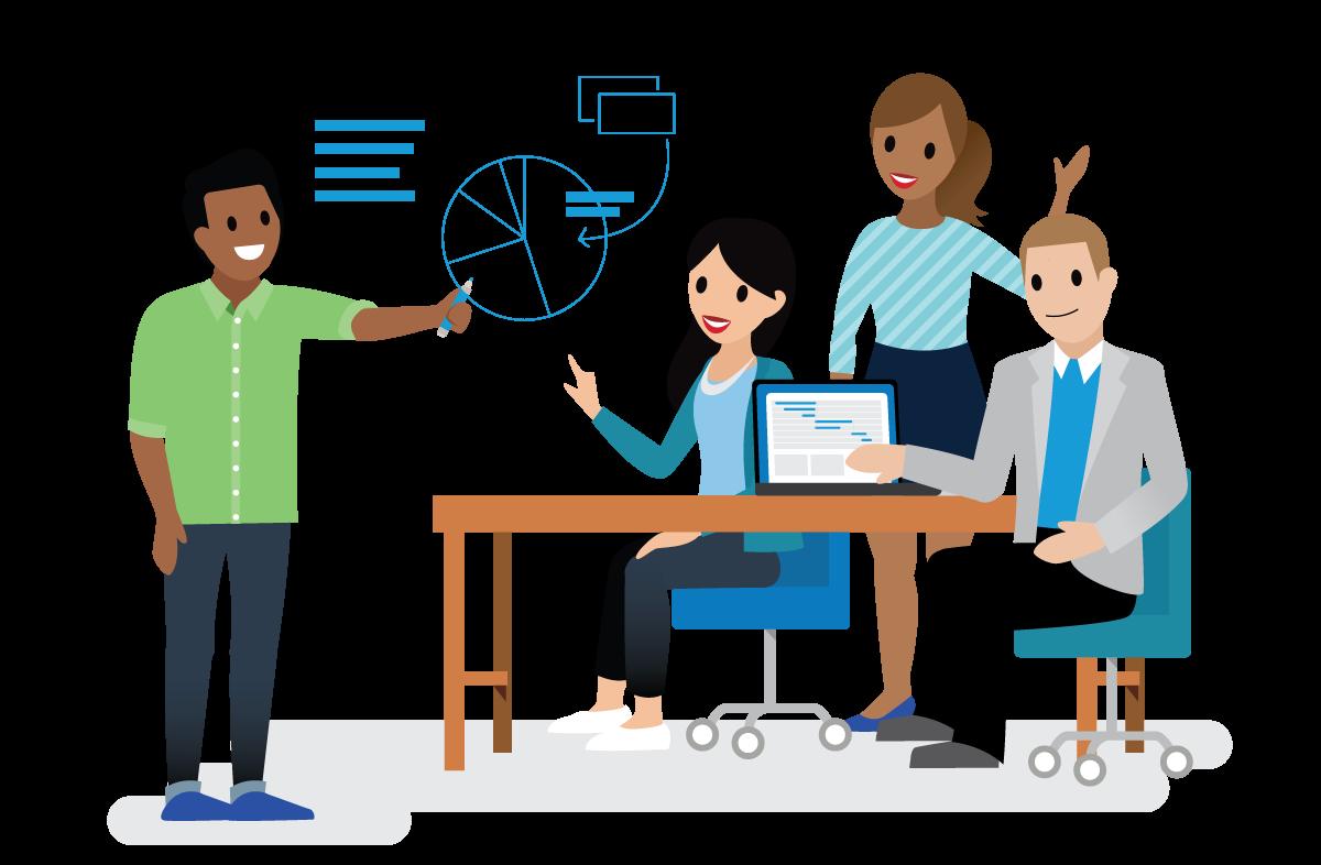 Salesforclandians working together on the Sales team.