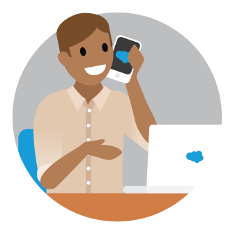 Salesforce hiring manager talking on the phone to a candidate.