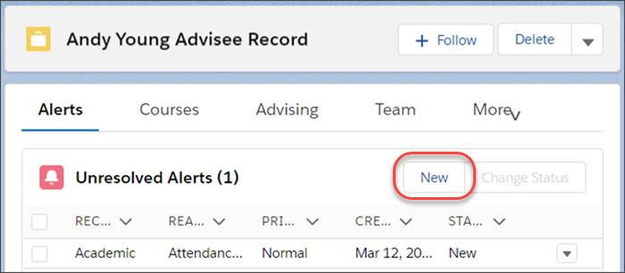 An advisee record with the Alerts tab selected and the New button highlighted.