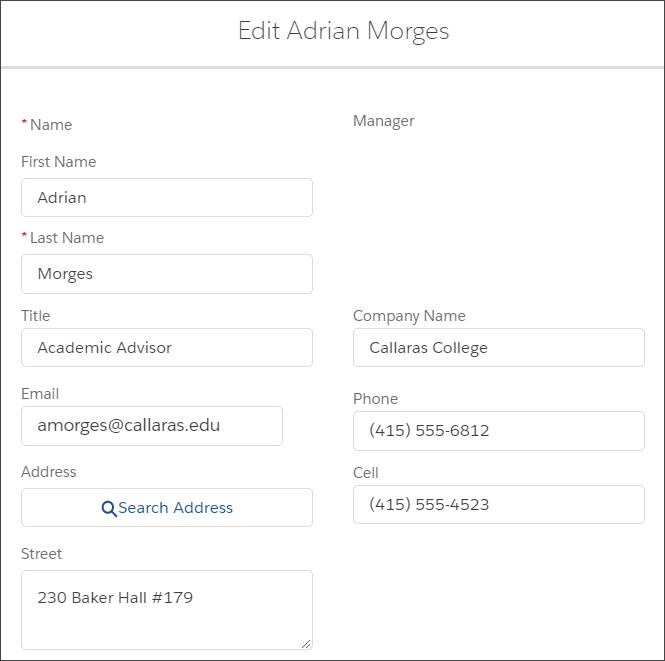 Advisor user profile fields in Edit mode.