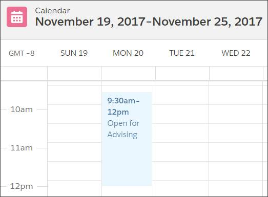 Adrian's Calendar showing open advising hours from 9:30am-12pm on Monday.
